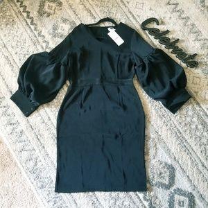 Designer Marina Kaneva Poofy Sleeve Black Dress 14